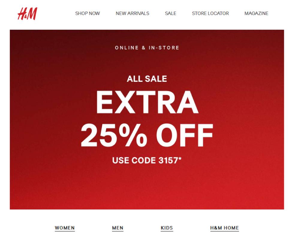 Ejemplo de oferta personalizada enviada por email realizada por H&M