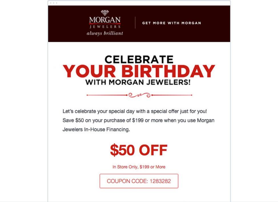 Oferta personalizada en el cumpleaños del cliente para retener al cliente y aumentar su lealtad